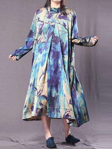 Abstract Print Smock Dress