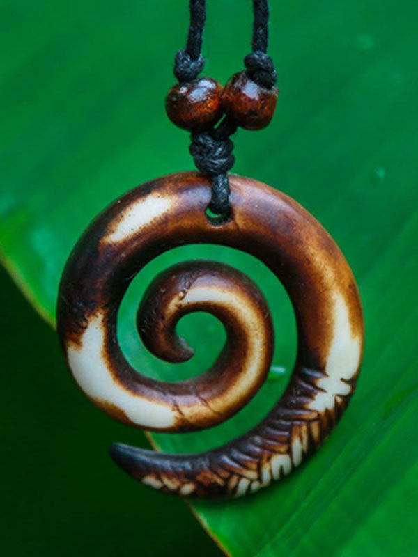 Hand-Carved Yak Bone Spiral Necklace