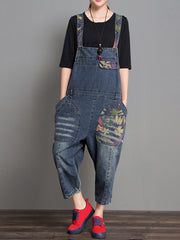 Joy Ethnic Denim Abrasion Overall Dungarees