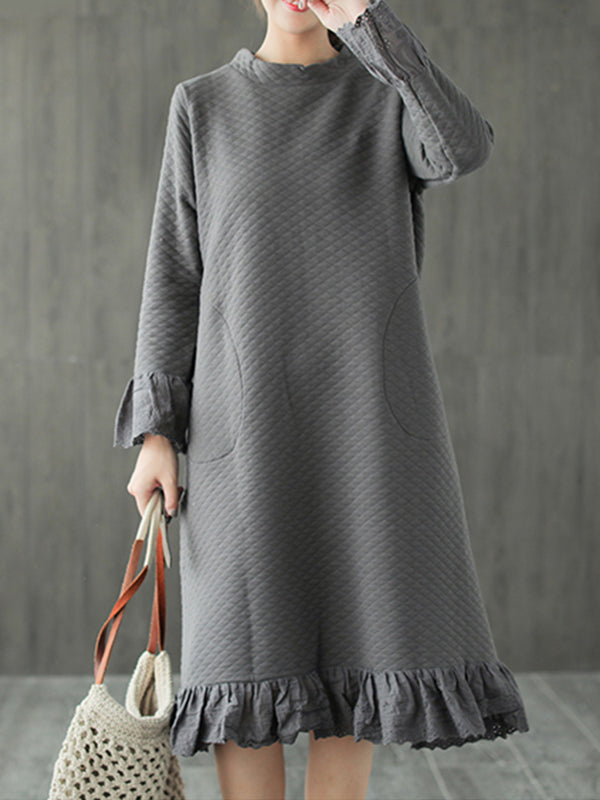 Vickie Round Neck Cotton Midi Dress with Stitching Lace