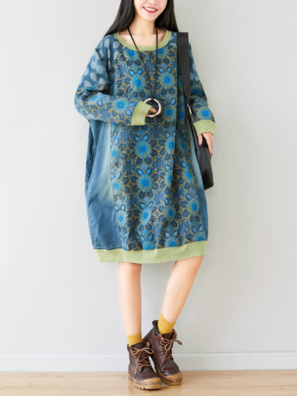 Crew Neck Printed Sweatshirt Dress