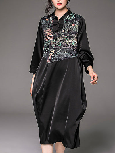 Ariyah Lapel Neck Copper Wire Floral Prints A-Line Dress