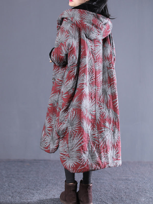 Marian Vintage Hooded Cotton-Padded Overcoat with Floral Prints
