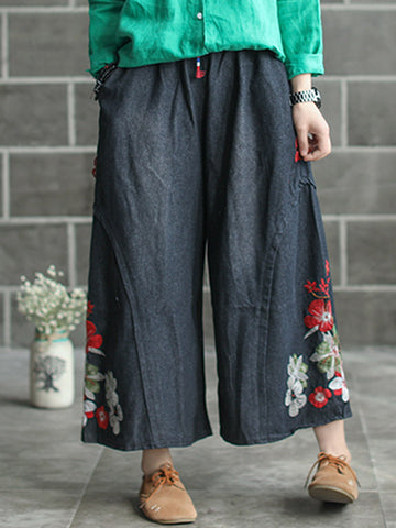 Chained Floral Wide Legs Pants