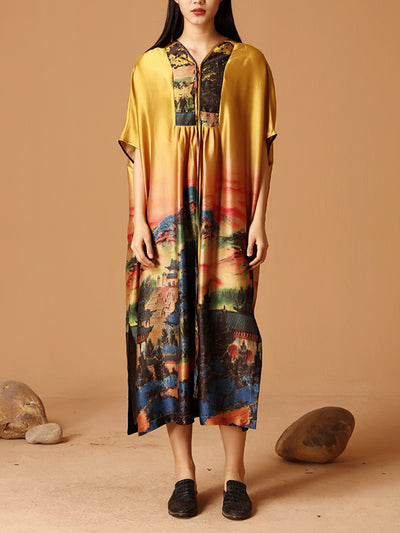 Jungle Spring Vibrant Silk Open Slit Shift Dress