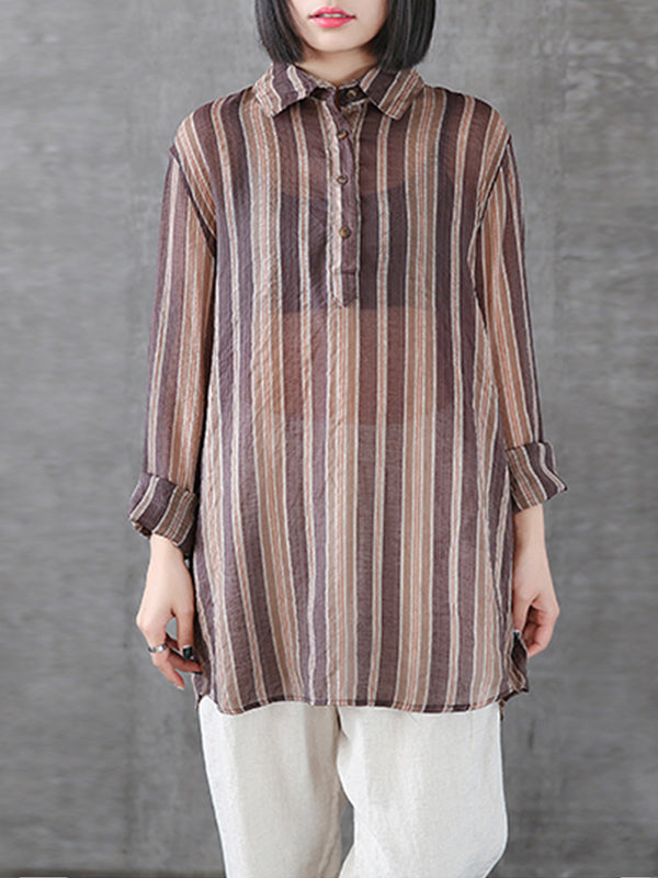 Gracie Vintage Contrasting Vertical Stripes Print Lapel Tops