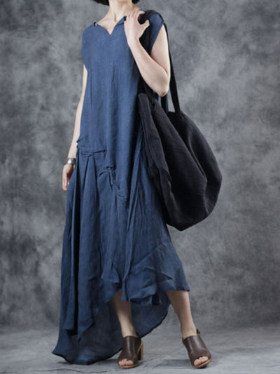 Through the Bluebells Cotton & Linen A-Line Dress