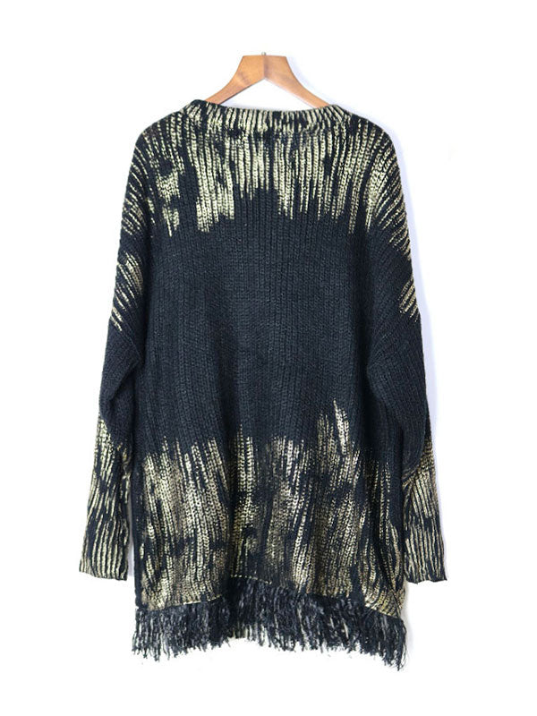 Woodstock Graphic Tassel Knitting Sweater