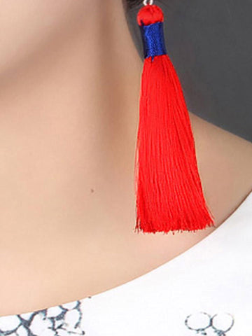 Red Rose Tassel Earrings