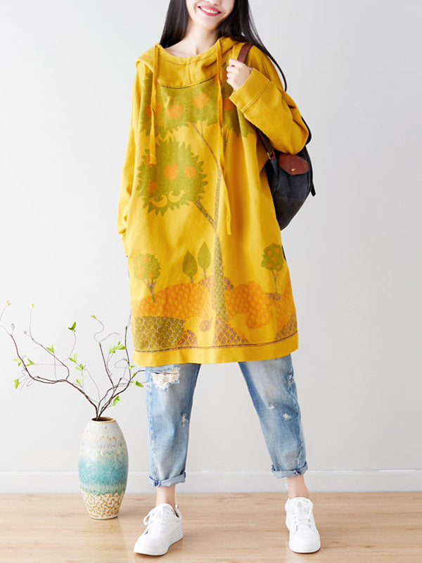 Tree Way Vibrant Cotton Hodded Midi Dress
