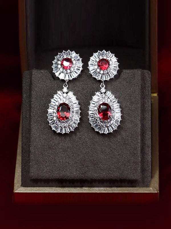 Molly Vintage Feature Ruby Round Earrings with Pear-shaped Pendants