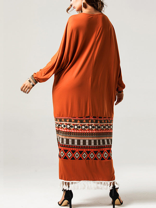 Ethnic Print Tassel Plus Size Maxi Dress
