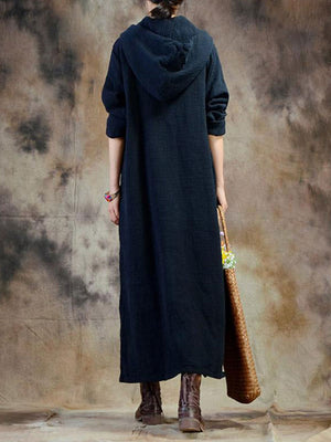 Side Cut Shift Hoodie Dress