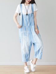 White and Blue Lining Watery Overall Dungarees