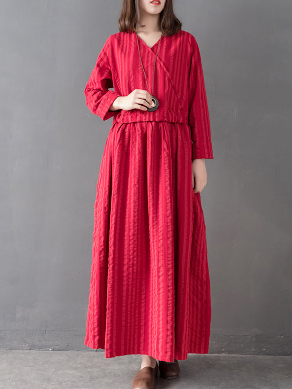 7c17c7b50d1 Sharron Vintage Matching Vertical Stripes High-waist Belted Linen Pleated  Maxi Dress