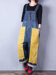 Happy Heart Color Contrast Denim Overall Dungarees