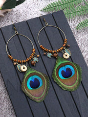 Glamorous Grouping Peacock Feather Earrings