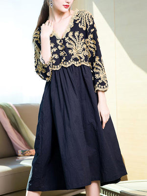Majestic Night Embroidered A-Line Dress