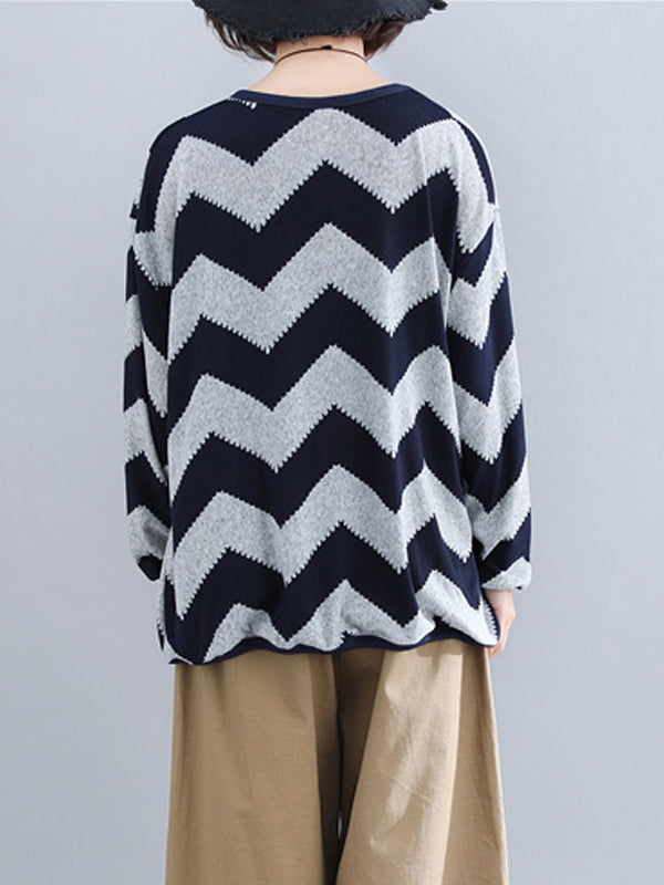 Zigzag Knit Top with Alternating Wave Prints
