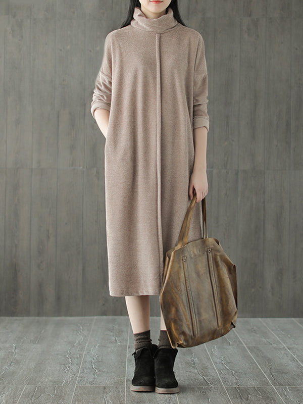 Mabel High Neck Vintage Pullover Midi Dress with Solid Color