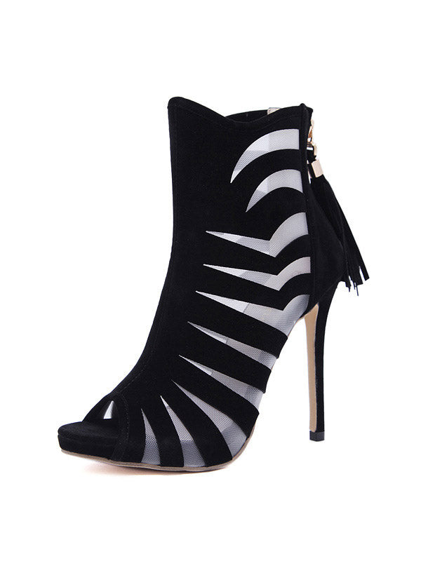 Striped fringed heels