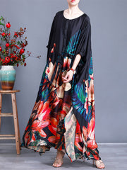 Feather From Heart Floral Print Button Maxi Dress