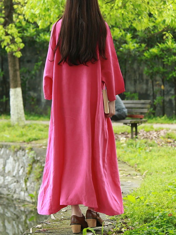 Plain Raglan Sleeve Maxi Dress