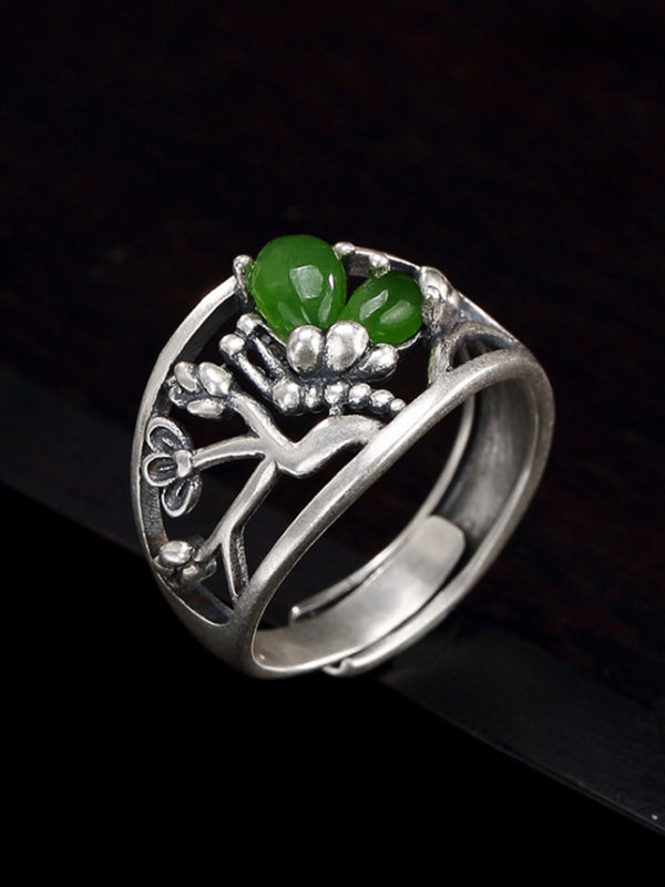 Nellie Butterfly Silver Jade Inlay Ring