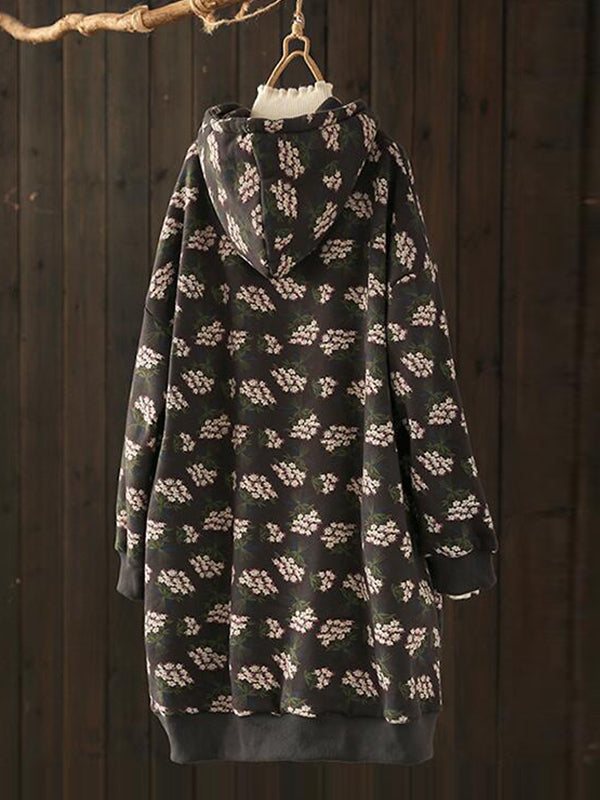 Christy Hooded Drawstring Quilted Overcoat with Shivering Prints