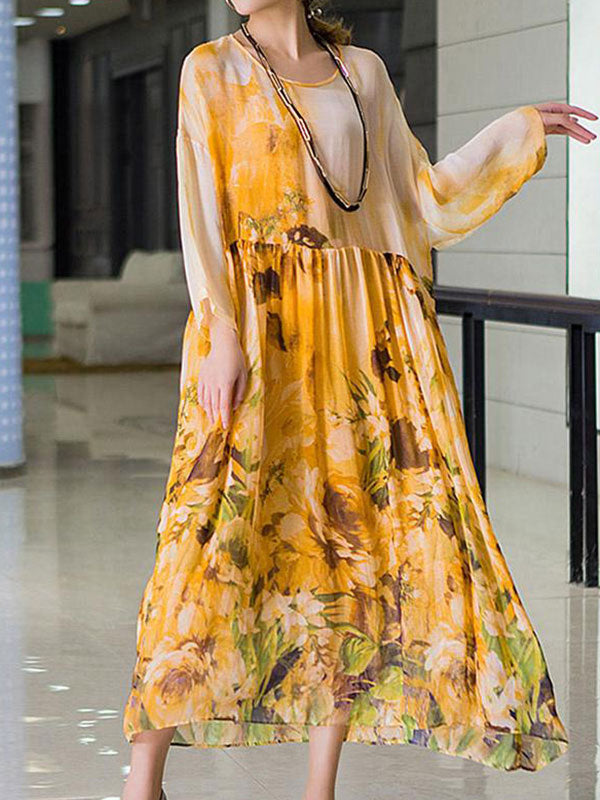 Full Bloom Sheer Layer Smock Dress