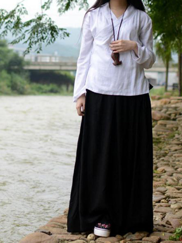 Cotton Linen Long Waist Skirt