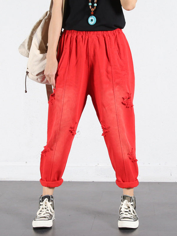 Solid Color Ripped Trouser Pants