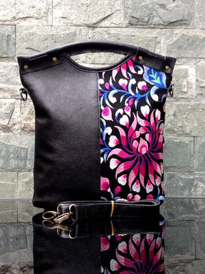 Leather Embroidered Ethnic Tote Bag