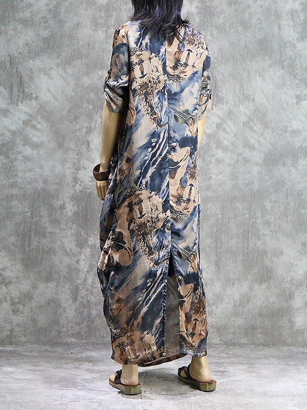 Camilia Dyed Wrapped Silk Maxi Dress