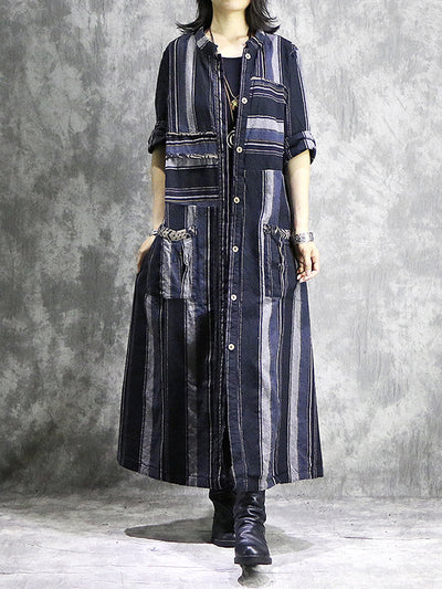 Bonita Lapel-Neck Cotton & Linen Vintage Shirt Dress