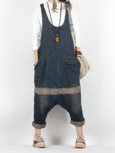 Miriam Contrast Color Denim Harem Overall Dungarees with Patchwork