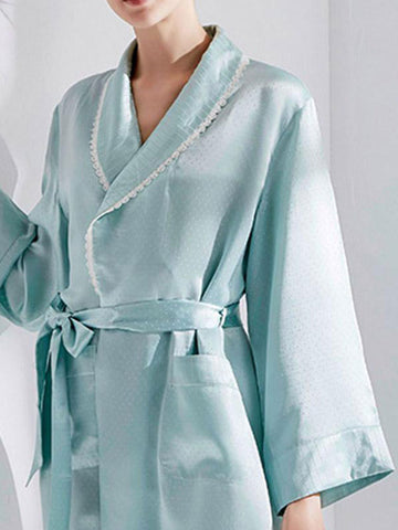 Powder Blue Waist Robe Nighty
