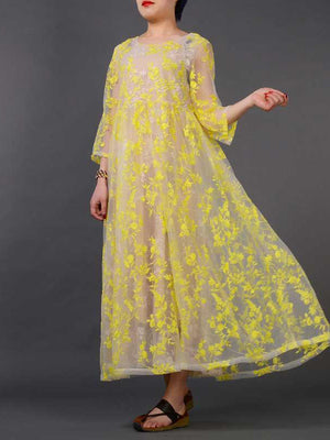 Silk Lace Embroidered Dress