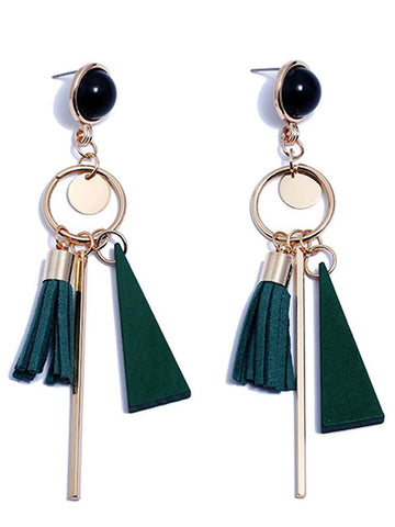 Woody Stone Tassel Earrings