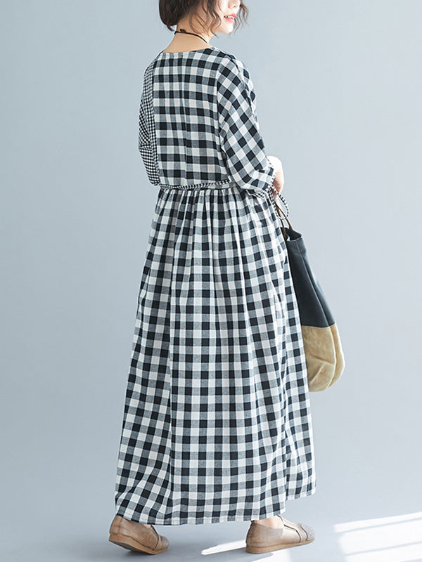 Day Keeper Tartan Print Linen Smock Dress