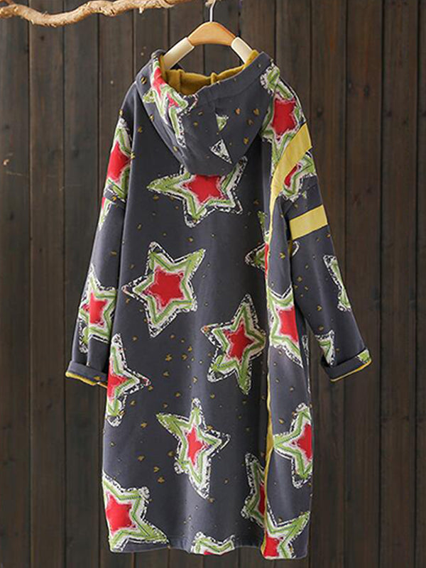 Marsha Ethnic Hooded Drawstring Quilted Sweatshirt Dress with Stella Prints
