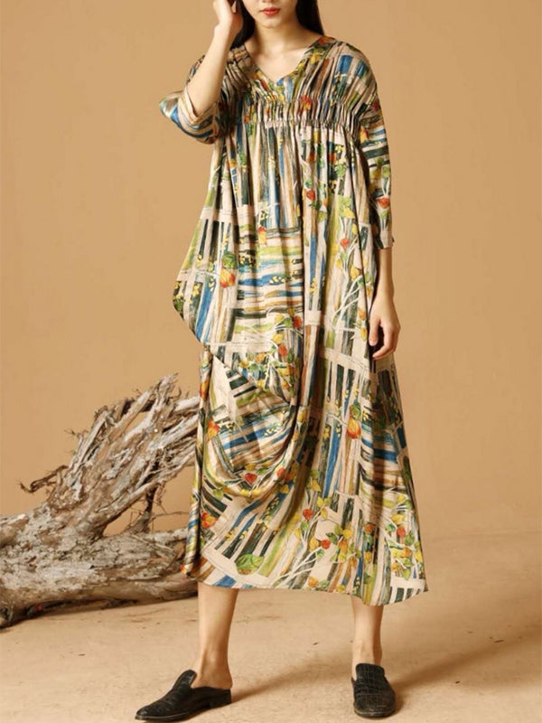 Nikki Irregular Floral Printed Maxi Dress