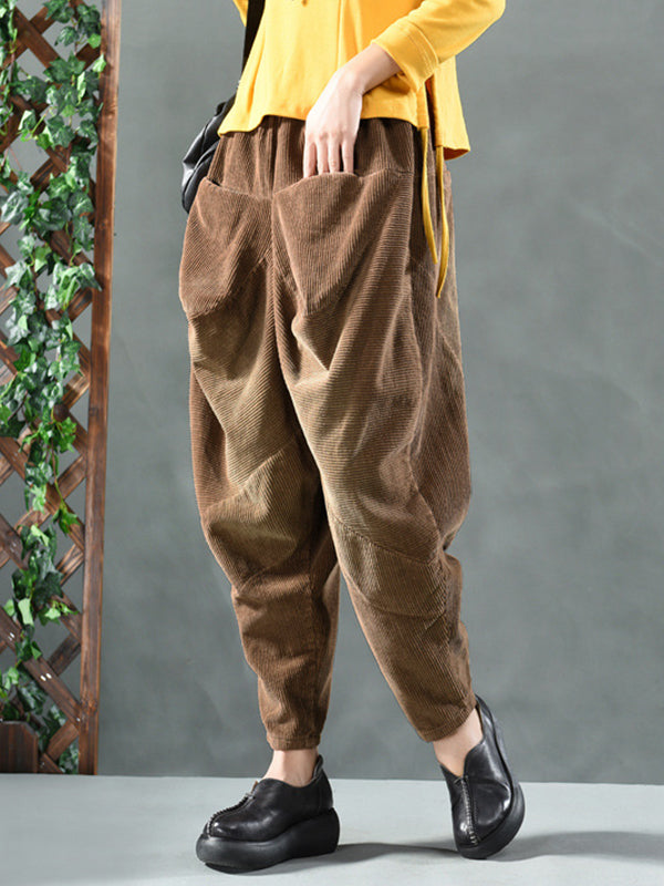 Kelli Casual Corduroy Trousers with Pockets