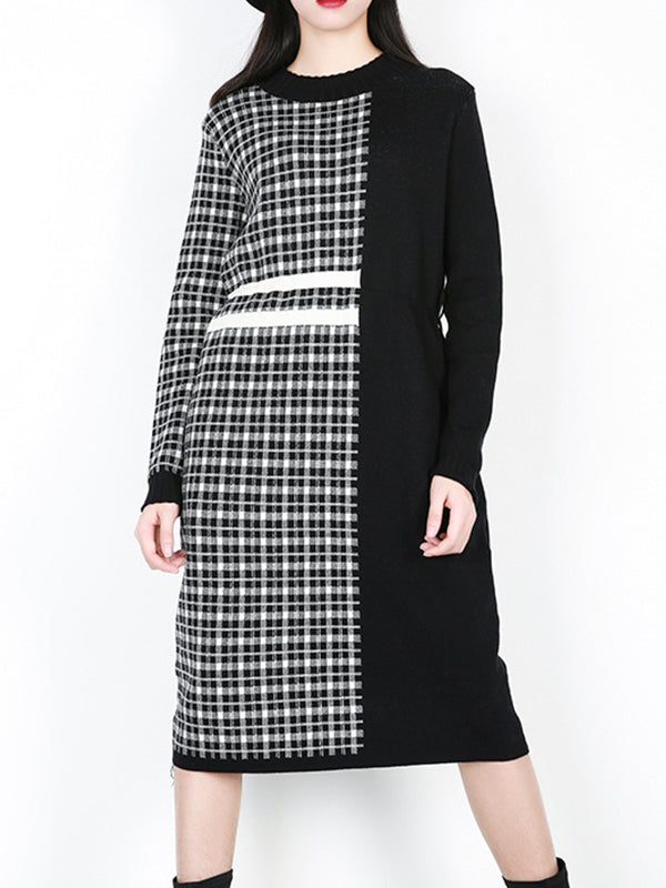 Erin Contrast Color Sweater Dress with Plaids and Solid Color