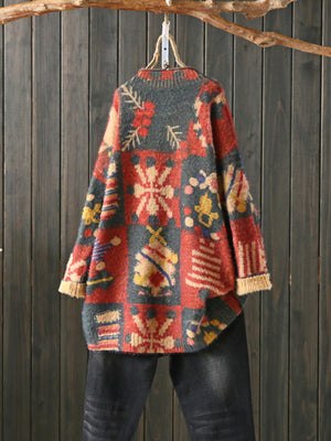 Claire Round Neck Vintage Sweatshirt with Xmas Patterns Prints