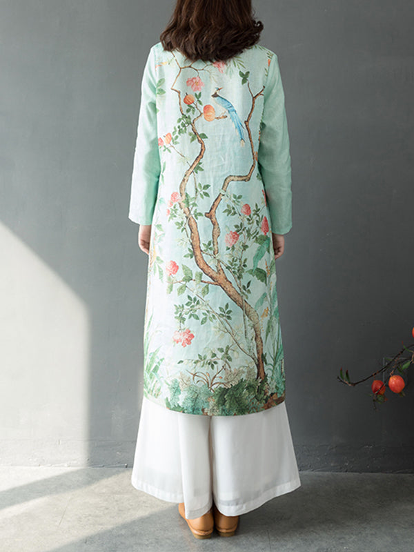 Corrine Stand Collar Vintage Ethnic Matching Floral Print Linen Midi Dress
