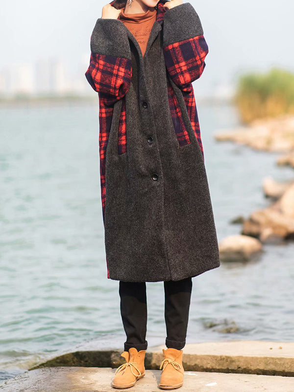 Retro Plaided Hooded Coat