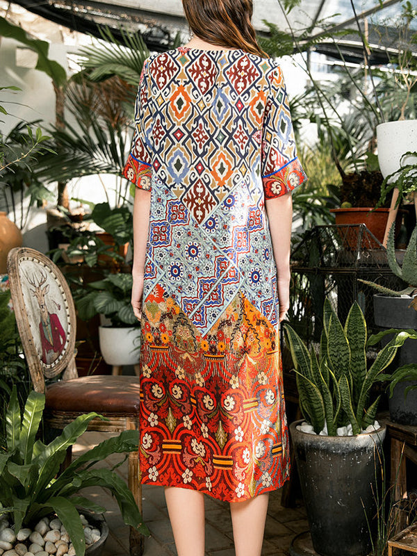 Gesa V Neck Pattern Prints A-Line Dress