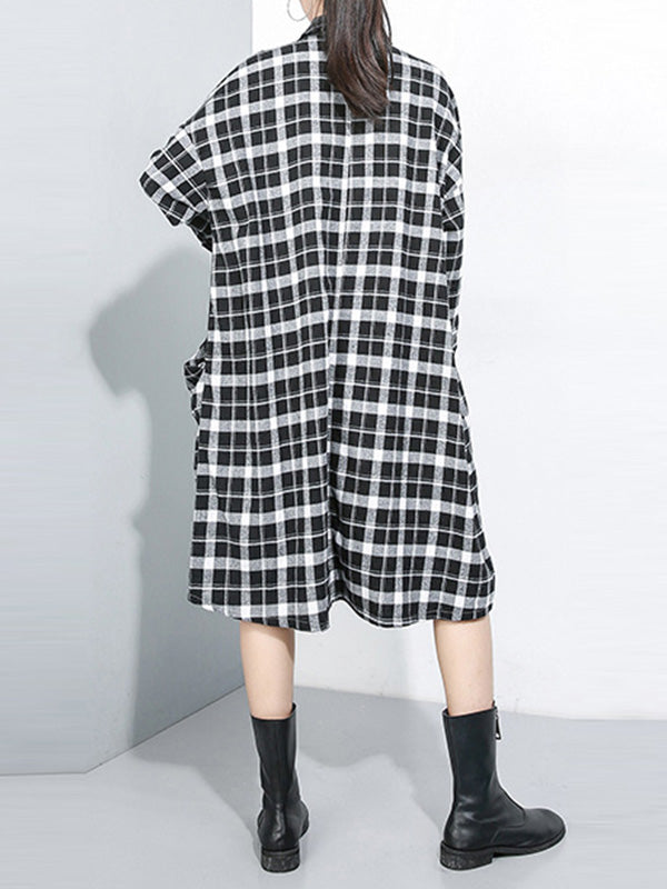 Denim Daydream Plaids Collared Midi Dress