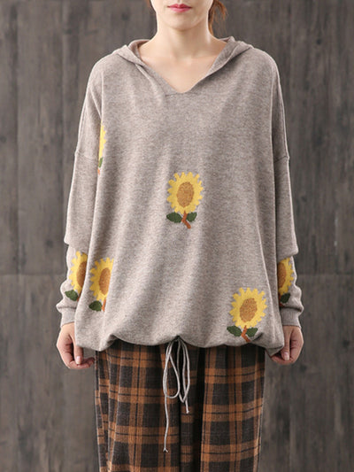 Sunflower Printed knitted Hoodie